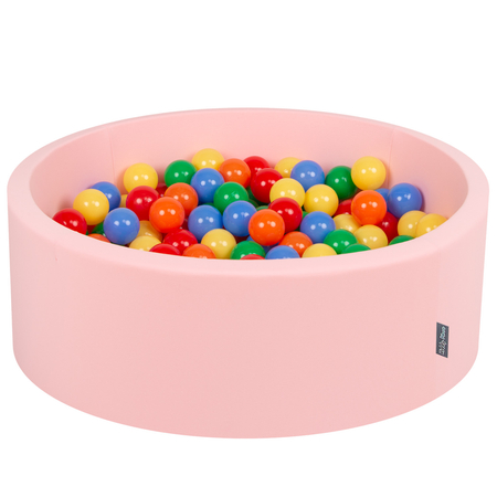 KiddyMoon Baby Foam Ball Pit with Balls 7cm /  2.75in Certified, Pink: Yellow/ Green/ Blue/ Red/ Orange