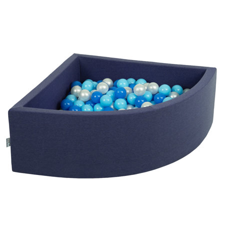 KiddyMoon Baby Foam Ball Pit with Balls 7cm /  2.75in Quarter Angular, Dark Blue: Babyblue/ Blue/ Peal