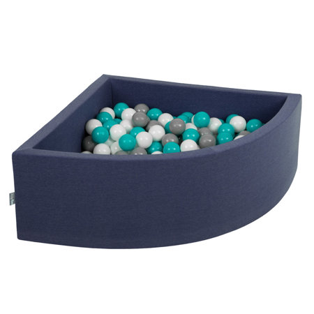 KiddyMoon Baby Foam Ball Pit with Balls ∅7cm / 2.75in Quarter Angular, Dark Blue: Grey/ White/ Turquoise