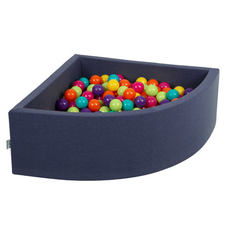 KiddyMoon Baby Foam Ball Pit with Balls ∅7cm / 2.75in Quarter Angular, Dark Blue: Light green/ Yellow/ Turquoise/ Orange/ Dark pink/ Purple