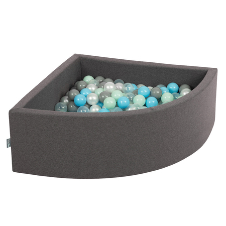 KiddyMoon Baby Foam Ball Pit with Balls ∅7cm / 2.75in Quarter Angular, Dark Grey: Pearl/ Grey/ Transparent/ Baby blue/ Mint