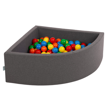 KiddyMoon Baby Foam Ball Pit with Balls ∅7cm / 2.75in Quarter Angular, Dark Grey:Yellow/Green/Blue/Red/Orange