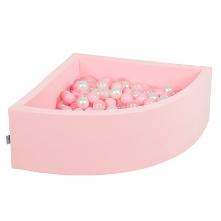 KiddyMoon Baby Foam Ball Pit with Balls 7cm /  2.75in Quarter Angular, Pink: Light Pink/ Pearl/ Transparent