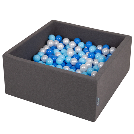 KiddyMoon Baby Foam Ball Pit with Balls 7cm /  2.75in Square, Dark Grey: Baby Blue/ Blue/ Pearl