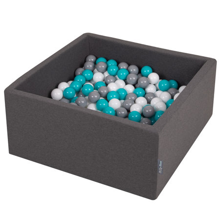 KiddyMoon Baby Foam Ball Pit with Balls 7cm /  2.75in Square, Dark Grey: Grey/ White/ Turquoise