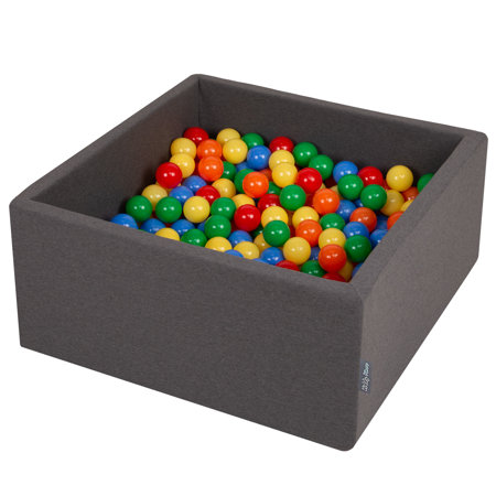 KiddyMoon Baby Foam Ball Pit with Balls 7cm /  2.75in Square, Dark Grey: Yellow/ Green/ Blue/ Red/ Orange