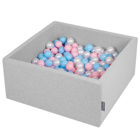 KiddyMoon Baby Foam Ball Pit with Balls 7cm /  2.75in Square, Light Grey: Baby Blue/ Light Pink/ Pearl