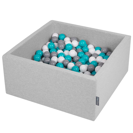 KiddyMoon Baby Foam Ball Pit with Balls 7cm /  2.75in Square, Light Grey: Grey/ White/ Turquoise
