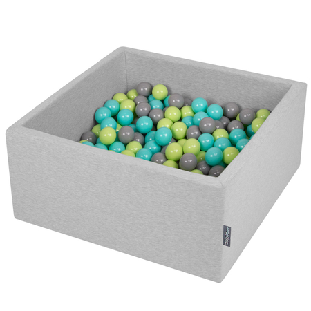 KiddyMoon Baby Foam Ball Pit with Balls 7cm /  2.75in Square, Light Grey: Light Green/ Light Turquoise/ Grey