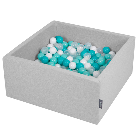KiddyMoon Baby Foam Ball Pit with Balls 7cm /  2.75in Square, Light Grey: Lt Turquoise/ White/ Transparent/ Turquois