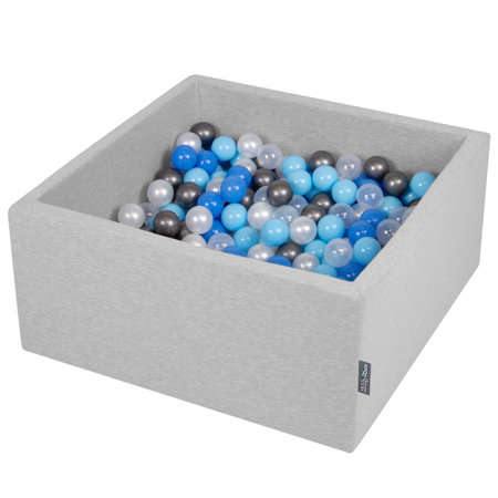 KiddyMoon Baby Foam Ball Pit with Balls 7cm /  2.75in Square, Light Grey: Pearl/ Blue/ Baby Blue/ Transparent/ Silver