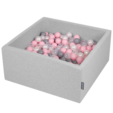 KiddyMoon Baby Foam Ball Pit with Balls 7cm /  2.75in Square, Light Grey/ Pearl/ Grey/ Transparent/ Light Pink