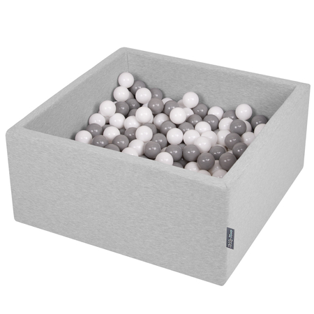 KiddyMoon Baby Foam Ball Pit with Balls 7cm /  2.75in Square, Light Grey: White/ Grey