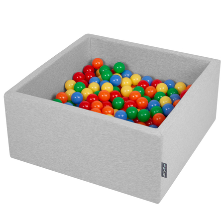 KiddyMoon Baby Foam Ball Pit with Balls 7cm /  2.75in Square, Light Grey: Yellow/ Green/ Blue/ Red/ Orange