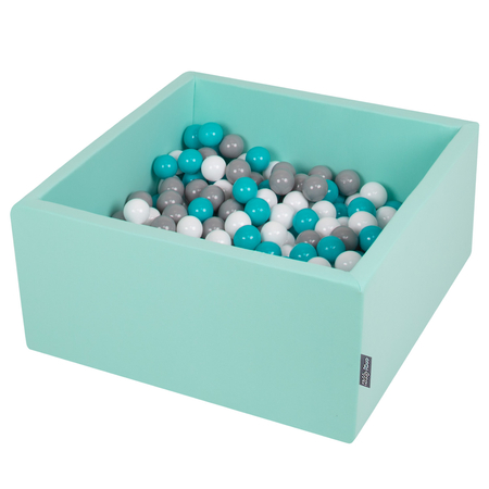 KiddyMoon Baby Foam Ball Pit with Balls 7cm /  2.75in Square, Mint: Grey/ White/ Turquoise