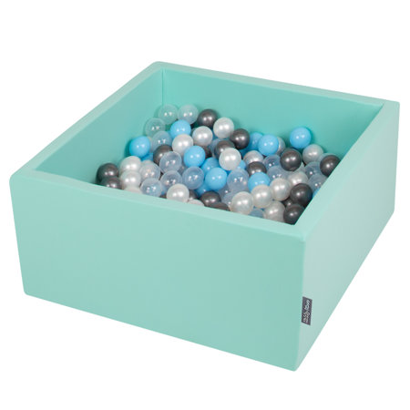 KiddyMoon Baby Foam Ball Pit with Balls ∅ 7cm / 2.75in Square, Mint:Transparent/Silver/Pearl/Babyblue