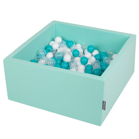 KiddyMoon Baby Foam Ball Pit with Balls 7cm /  2.75in Square, Mint: Turquoise/ Transparent/ White
