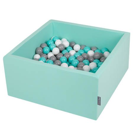 KiddyMoon Baby Foam Ball Pit with Balls ∅ 7cm / 2.75in Square, Mint:White/Grey/Light Turquoise