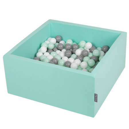 KiddyMoon Baby Foam Ball Pit with Balls ∅ 7cm / 2.75in Square, Mint:White/Grey/Mint