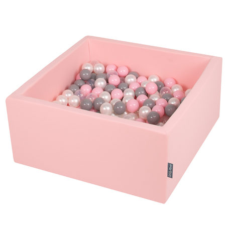 KiddyMoon Baby Foam Ball Pit with Balls 7cm /  2.75in Square, Pink: Pearl/ Grey/ Transparent/ Powderpink