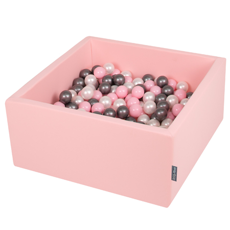 KiddyMoon Baby Foam Ball Pit with Balls 7cm /  2.75in Square, Pink: Pearl/ Powderpink/ Silver