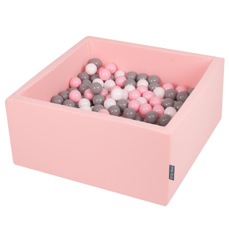 KiddyMoon Baby Foam Ball Pit with Balls 7cm /  2.75in Square, Pink: White/ Grey/ Powderpink