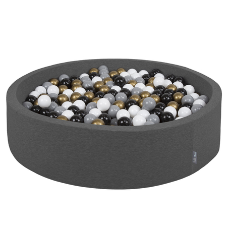 KiddyMoon Foam Ballpit Big Round with Plastic Balls, Certified Made In, Dark Grey: White-Grey-Black-Gold
