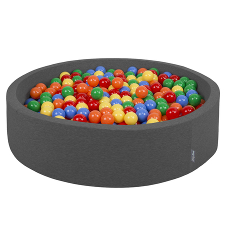 KiddyMoon Foam Ballpit Big Round with Plastic Balls, Certified Made In, Dark Grey: Yellow-Green-Blue-Red-Orange