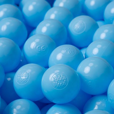 KiddyMoon Soft Plastic Play Balls ∅ 6cm / 2.36 Multi Colour Certified, Baby Blue