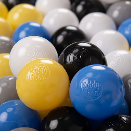 KiddyMoon Soft Plastic Play Balls ∅ 6cm / 2.36 Multi Colour Certified, Black/White/Grey/Blue/Yellow
