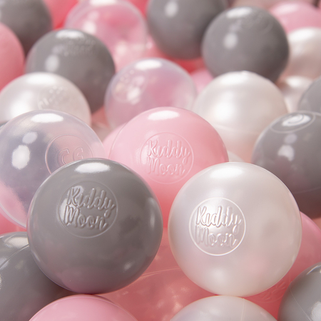 KiddyMoon Soft Plastic Play Balls 6cm / 2.36 Multi Colour Certified, Pearl/Grey/Transparent/Light Pink