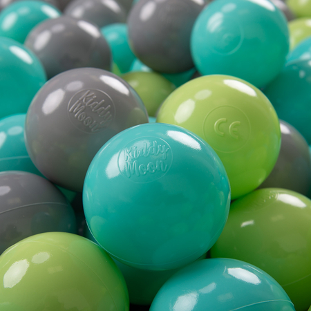 KiddyMoon Soft Plastic Play Balls 7cm/ 2.75in Multi-colour Certified, Light Green/ Light Turquoise/ Grey