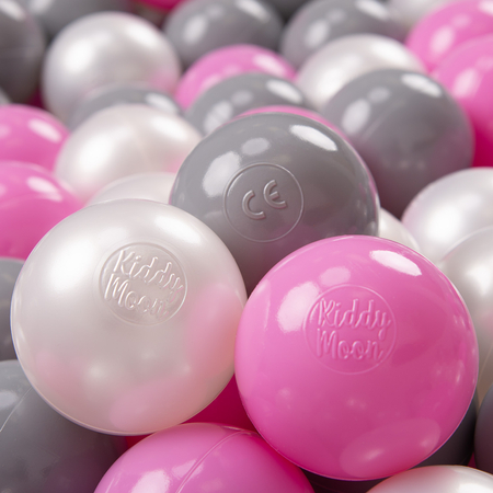 KiddyMoon Soft Plastic Play Balls ∅ 7cm/2.75in Multi-colour Certified, Pearl/Grey/Pink