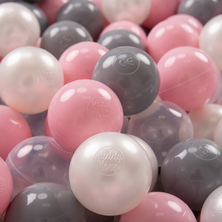 KiddyMoon Soft Plastic Play Balls 7cm/ 2.75in Multi-colour Certified, Pearl/ Grey/ Transparent/ Light Pink