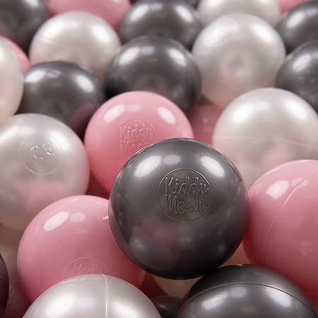 KiddyMoon Soft Plastic Play Balls 7cm/ 2.75in Multi-colour Certified, Pearl/ Light Pink/ Silver