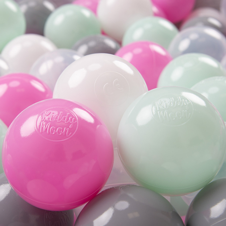 KiddyMoon Soft Plastic Play Balls ∅ 7cm/2.75in Multi-colour Certified, Transparent/Grey/White/Pink/Mint