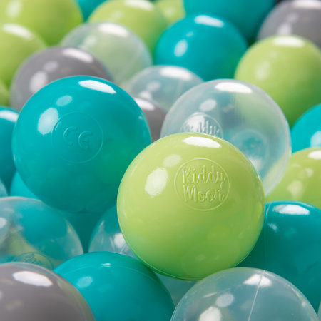 KiddyMoon Soft Plastic Play Balls 7cm/ 2.75in Multi-colour Certified, Turquoise/ Light Green/ Grey/ Transparent