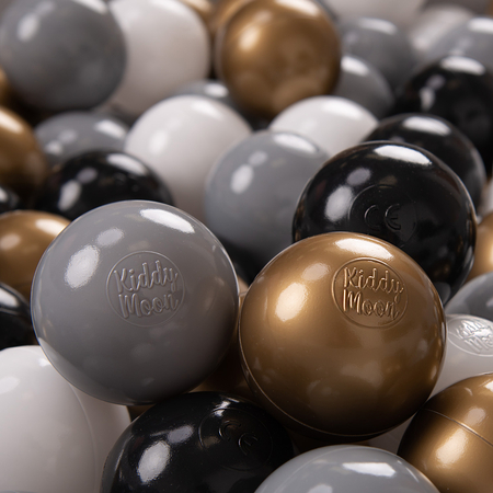 KiddyMoon Soft Plastic Play Balls ∅ 7cm/2.75in Multi-colour Certified, White/Grey/Black/Gold