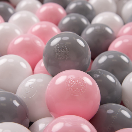 KiddyMoon Soft Plastic Play Balls 7cm/2.75in Multi-colour Certified, White/Grey/Light Pink