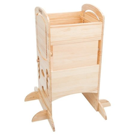KiddyMoon Wooden Kitchen Helper Step Stool for Kids Toddlers ST-002, Natural
