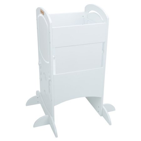 KiddyMoon Wooden Kitchen Helper Step Stool for Kids Toddlers ST-002, Plywood /  White