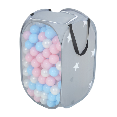 KiddyMoon kids balls set bin hamper storage mesh carrying case, Grey: Babyblue/ Powderpink/ Pearl
