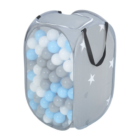 KiddyMoon kids balls set bin hamper storage mesh carrying case, Grey: Grey/ White/ Babyblue