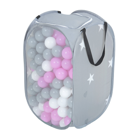 KiddyMoon kids balls set bin hamper storage mesh carrying case, Grey: Grey/ White/ Pink