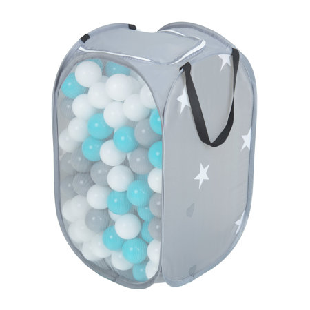 KiddyMoon kids balls set bin hamper storage mesh carrying case, Grey: Grey/ White/ Turquoise