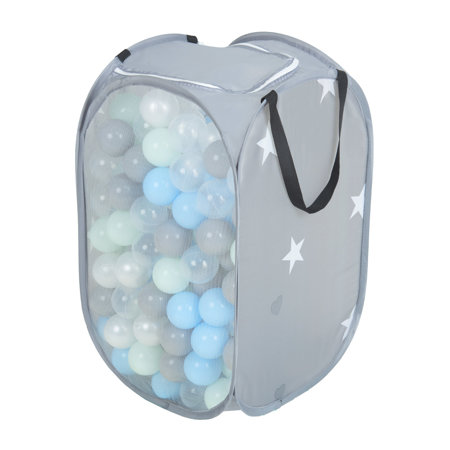 KiddyMoon kids balls set bin hamper storage mesh carrying case, Grey: Pearl/ Grey/ Transparent/ Babyblue/ Mint