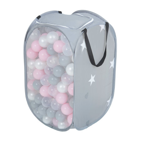 KiddyMoon kids balls set bin hamper storage mesh carrying case, Grey: Pearl/ Grey/ Transparent/ Powderpink
