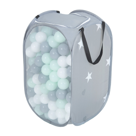 KiddyMoon kids balls set bin hamper storage mesh carrying case, Grey: White/ Grey/ Mint