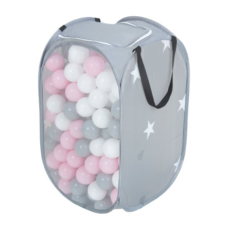 KiddyMoon kids balls set bin hamper storage mesh carrying case, Grey: White/ Grey/ Powderpink