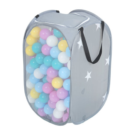 KiddyMoon kids balls set bin hamper storage mesh carrying case, Grey: White/ Yellow/ Pink/ Babyblue/ Turquoise